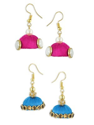 Girls Pink Doomed Kundan Jhumka Earrings