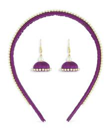 Girls Purple Ethnic Hairband Set