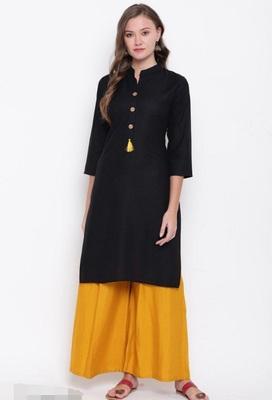 Black plain rayon cotton-kurtis