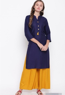 Blue plain rayon cotton-kurtis