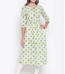 Light-parrot-green printed cotton cotton-kurtis