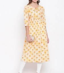 Light-yellow printed cotton cotton-kurtis