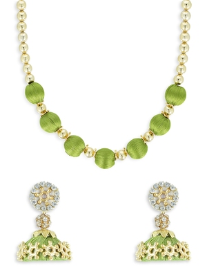 Girls Green Ethnic Necklace Set