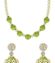 Girls Green Ethnic Necklace Set
