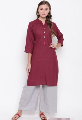 Wine plain rayon cotton-kurtis