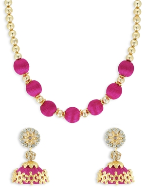 Girls Pink Ethnic Necklace Set