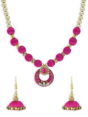 Girls Pink Kundan Stone Ethnic Necklace Set