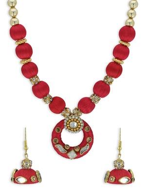 Girls Red Kundan Stone Ethnic Necklace Set