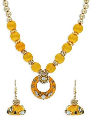 Girls Gold Kundan Stone Ethnic Necklace Set