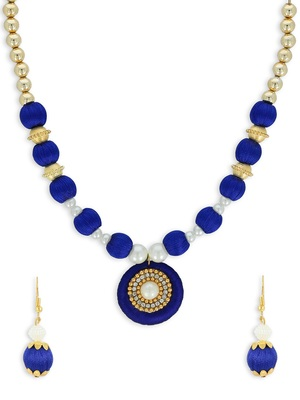 Girls Blue Ethnic Necklace Set