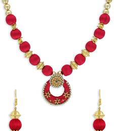 Girls Red Ethnic Necklace Set