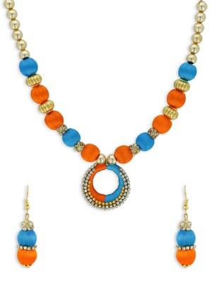 Girls Blue Ethnic Necklace Set