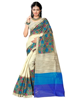 Cream printed bhagalpuri saree with blouse