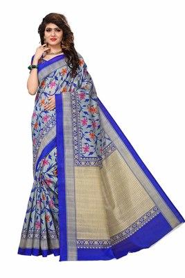 Light blue printed bhagalpuri saree with blouse