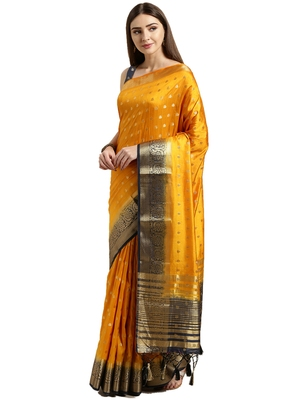 Mustard woven faux kanjivaram silk saree with blouse