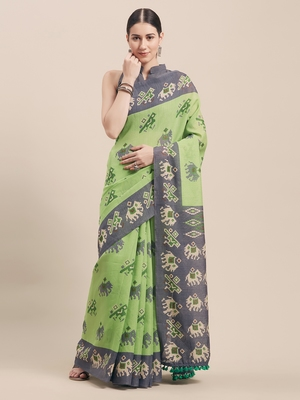 Green Printed Faux Linen Saree With Blouse
