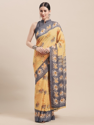 Yellow printed faux linen saree with blouse