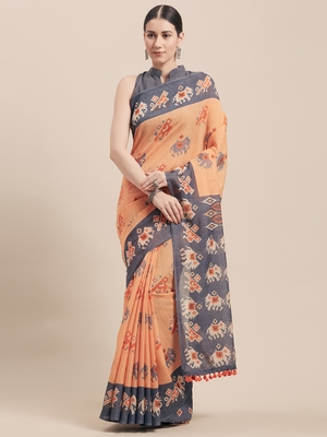 Peach printed faux linen saree with blouse