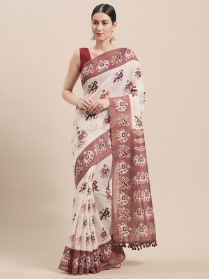 Off white printed faux linen saree with blouse