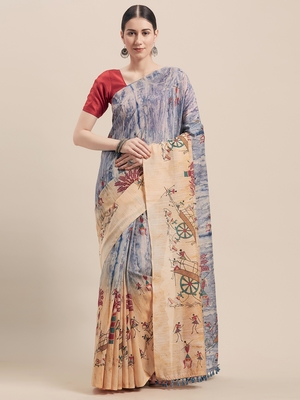 Beige printed faux linen saree with blouse