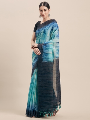 Turquoise printed faux linen saree with blouse