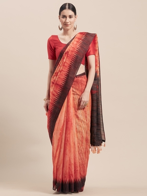 Orange printed faux linen saree with blouse