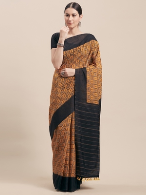 Mustard printed faux linen saree with blouse