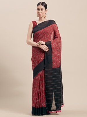 Magenta printed faux linen saree with blouse