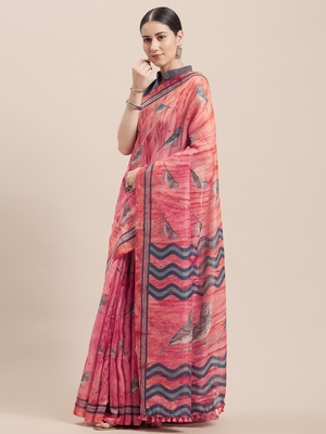 Pink printed faux linen saree with blouse
