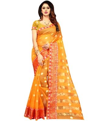 Mustard woven banarasi cotton saree with blouse