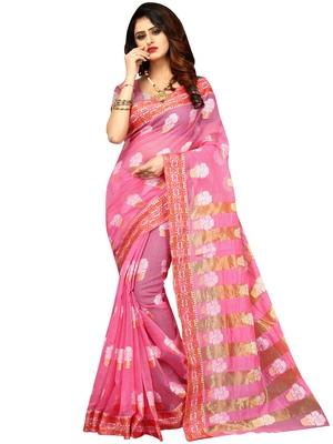 Baby pink woven banarasi cotton saree with blouse