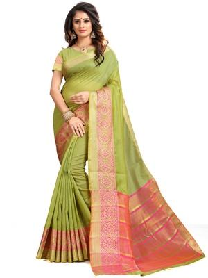 Light green woven banarasi cotton saree with blouse