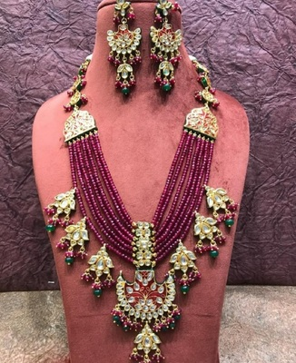 Wedding Ruby Layered Kundan Necklace Sets