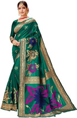 Dark green woven faux silk blend saree with blouse