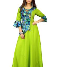Parrot-green printed rayon long-kurtis