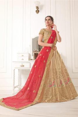 Golden Thread Embroidery Net Unstitched Lehenga