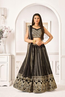 Black Thread Embroidery Net Unstitched Lehenga