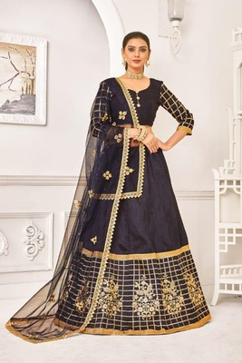 Navy-blue thread embroidery net unstitched lehenga