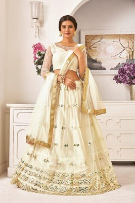 White Thread Embroidery Net Unstitched Lehenga