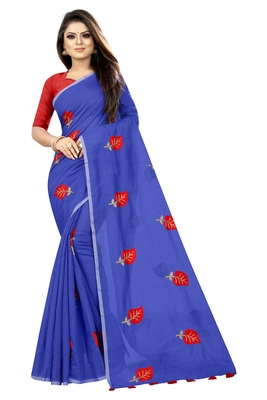 Blue embroidered chanderi saree with blouse