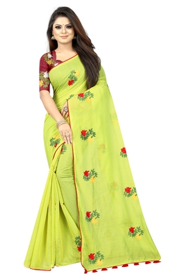 Parrot green embroidered chanderi saree with blouse