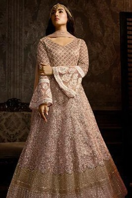 Light Pink Embroidered Net Salwar