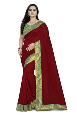 Red woven georgette saree with blouse