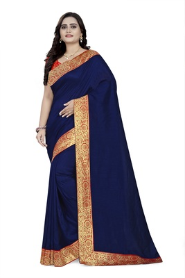 Blue woven georgette saree with blouse