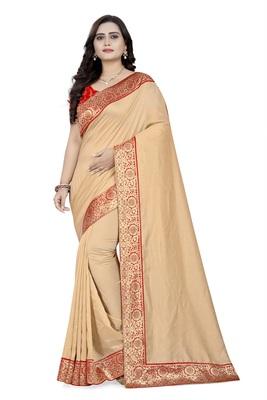Cream woven  art-silk-saree with blouse