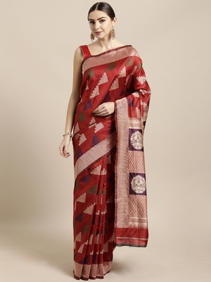 Maroon woven raw silk saree with blouse