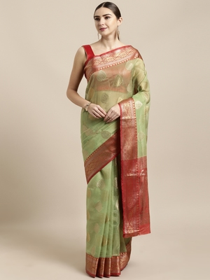 Green woven organza saree with blouse
