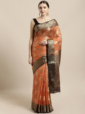 Rust woven organza saree with blouse
