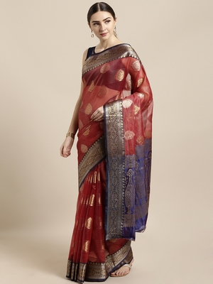 Maroon woven organza saree with blouse