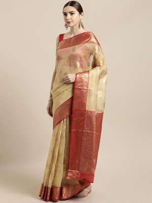 Beige woven organza saree with blouse